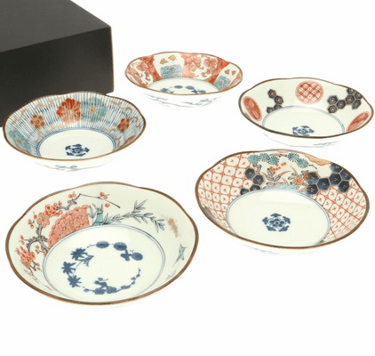 Five Somenishiki Ko-Imari  <br>Shallow Bowls Set