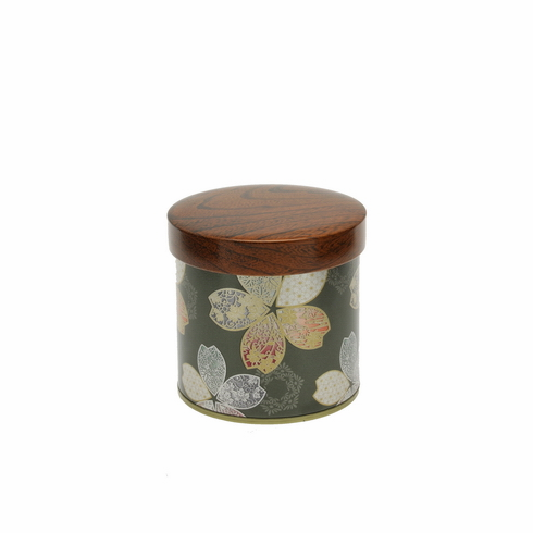 Forest Green Metallic Sakura  <br>Tea Canister, 150 Grams