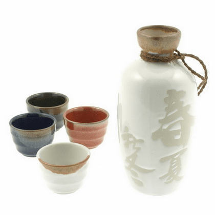 Four Seasons Sake Container & 4 Cups Set