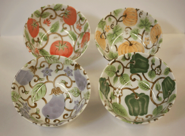 Four Vegetable Design <br>Rice/Snack Bowls