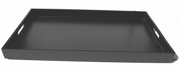 """Glossy and Mat Black Finish Plastic <br> Lacquerware Tray, 18-5/8"""" x 12-1/4"""" x 1-1/2"""""""