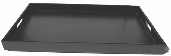 "Glossy and Mat Black Finish Plastic <br> Lacquerware Tray, 18-5/8"" x 12-1/4"" x 1-1/2"""