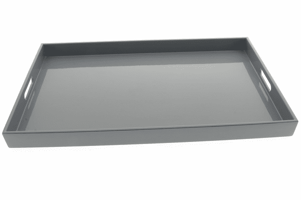 "Glossy Cloud Grey Color Plastic Lacquerware Tray, 18-5/8"" x 12-1/4"" x 1-1/2"""