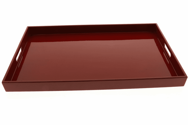 "Glossy Wine Red Color Plastic  <br>Lacquerware Tray, 18-5/8"" x 12-1/4"" x 1-1/2"""