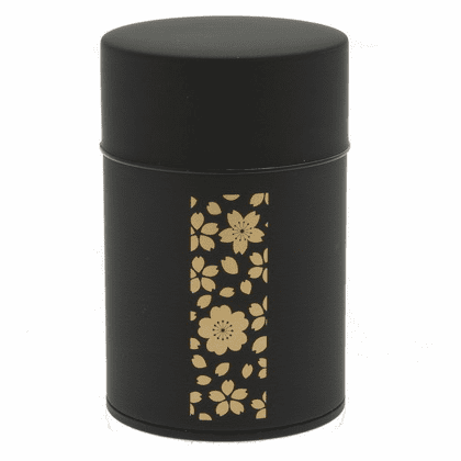 Gold and Black Cherry Blossom  <br>Tea Canister, Holds 100 Grams