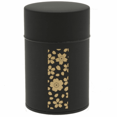 Gold and Black Cherry Blossom Tea Canister, Holds 100 Grams