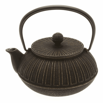 Gold and Black Columns<br> Design Cast Iron Teapot
