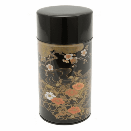 Gold and Black Floral Stream  <br>Tea Canister, Holds 200 Grams