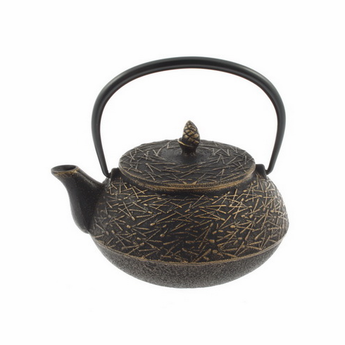 Gold and Black Pine Needle Cast <br>Iron Teapot by Iwachu 20 oz.