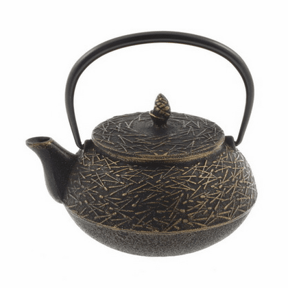 Gold and Black Pine Needle Cast Iron Teapot by Iwachu 20 oz.