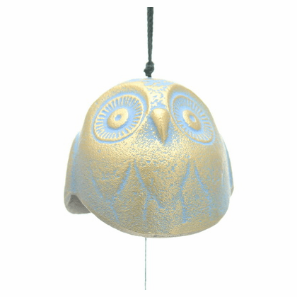 Gold and Blue Color Owl Cast Iron  <br>Wind Chime