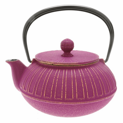 Gold and Purple Columns <br>Design Cast Iron Teapot