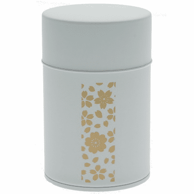 Gold and White Cherry Blossom  Tea Canister, Holds 100 Grams
