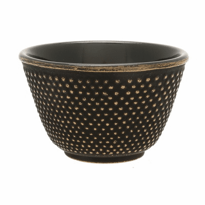 Gold/Black Hobnail Cast Iron Tea <br>Cup by Iwachu