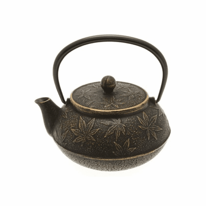 Gold & Black Maple Leaf Cast Iron <br>Teapot by Iwachu 20 oz.