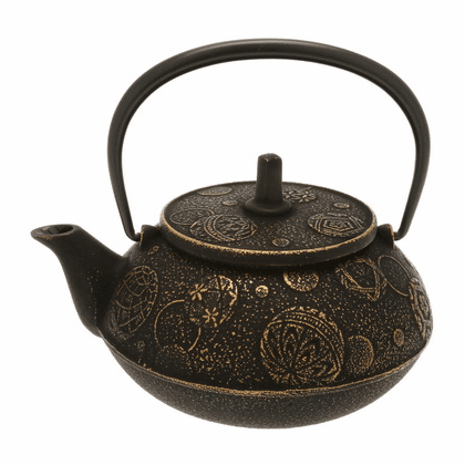 Gold & Black Mari Cast Iron Teapot by<br> Iwachu 20 oz.