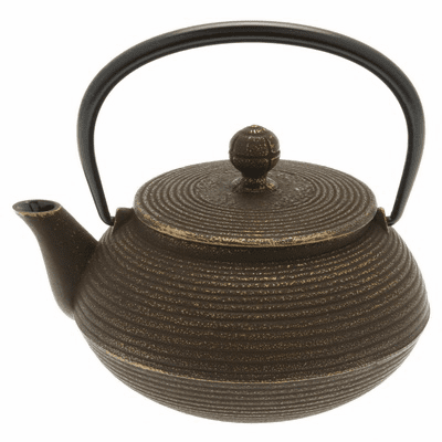 Gold & Brown Concentric Rings Cast<br> Iron Tea Pot, 20 oz.
