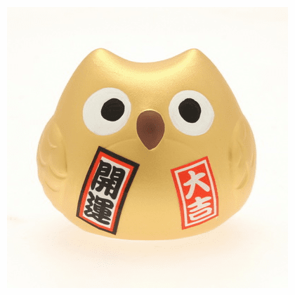 Gold Ceramic Owl Lucky <br>Charm Fortune