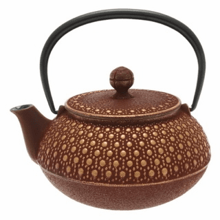 Gold & Cranberry Honeycomb Cast Iron Tea Pot, 20 oz.