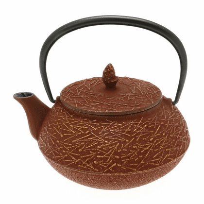 Gold & Cranberry Pine Needle Cast Iron Teapot by Iwachu 20 oz.