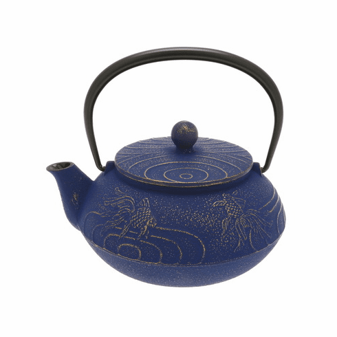 Gold & Europa Blu Goldfish Cast Iron <br>Tea Pot by Iwachu, 20 oz.