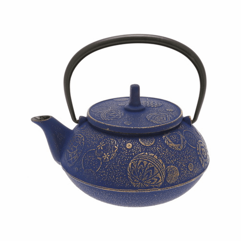 Gold &  Europa Blu Mari/Ball Cast Iron <br>Teapot by Iwachu 20 oz.