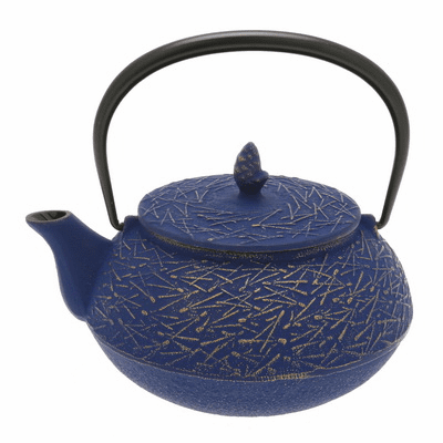 Gold & Europa Blu Pine Needle Cast <br>Iron Teapot by Iwachu 20 oz.