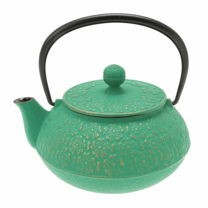 Gold & Forest Green Sakura Cast Iron<br> Teapot