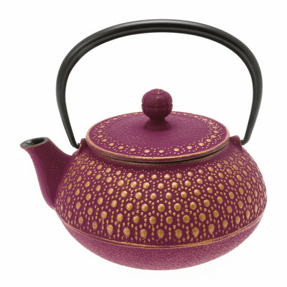 Gold & Purple Honeycomb Cast Iron Teapot, 20 oz.