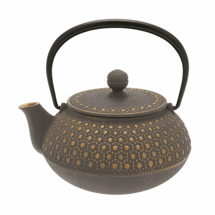 Gold &Taupe Honeycomb Cast Iron Teapot, 20 oz.