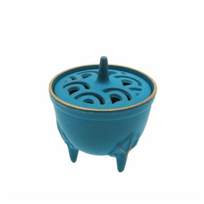 Gold & Turquoise Wave Cast Iron Incense Burner