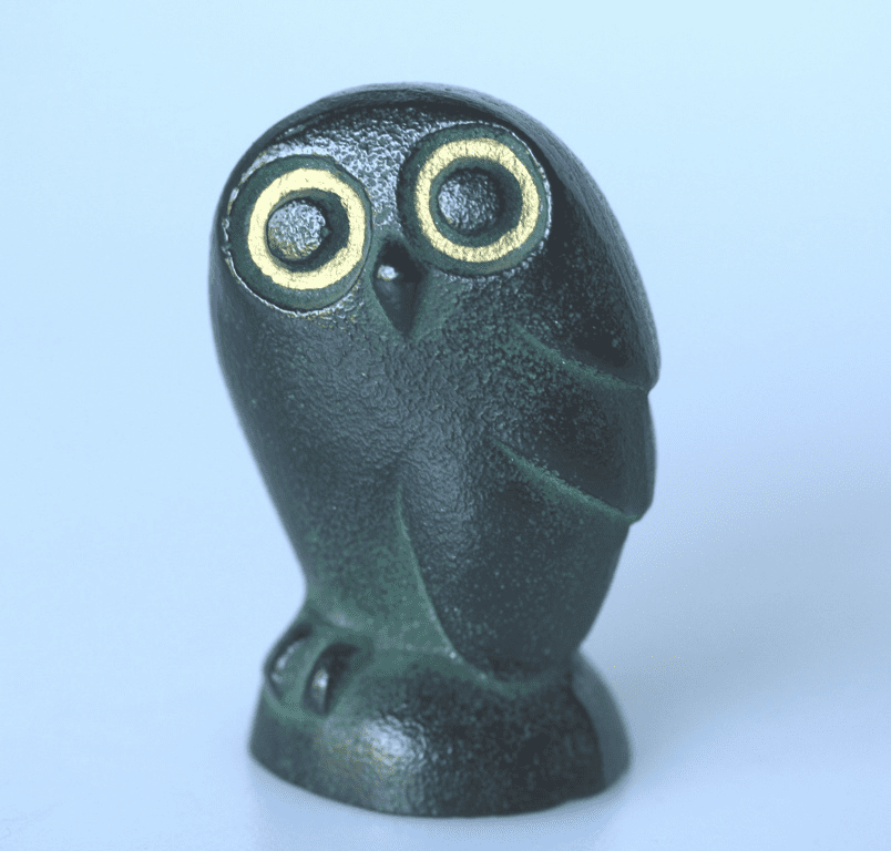 Green Color Owl Cast Iron Paper Weight