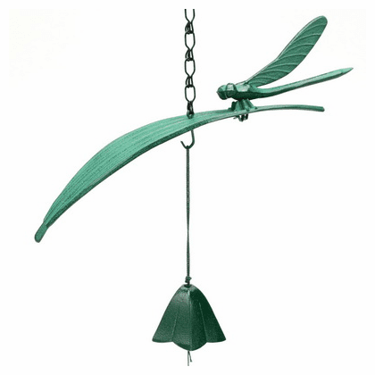 Green Dragonfly on a Leaf Cast Iron  <br>Wind Chime