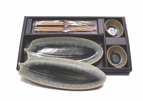 Green Feather Sushi Plate<br> and Chopstick Set