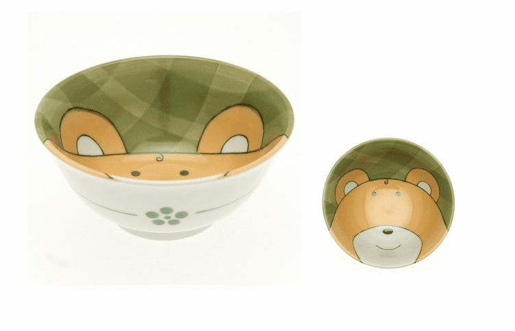 Green Gingham Bear Bowl 6""