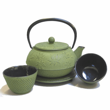 Green Maple Leaf Cast Iron <br>Teapot Set by Iwachu, 20 oz.