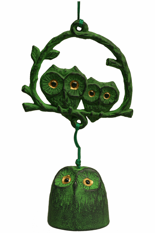 Green Owl Family Cast Iron  <br>Wind Chime