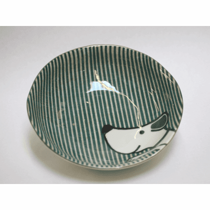 Green Stripes Dog Shallow Fruit/Snack Bowl