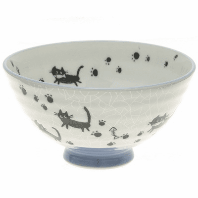 Greu Crackle Black Cats Ceramic Rice Bowl