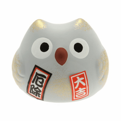 "Grey Ceramic Owl Warding Off<br> Bad Spirits Charm ""Yakuyoke"""