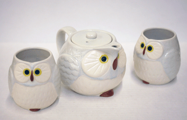 Grey/Sky Blue and White Owl/Fukuro<br> Tea Set