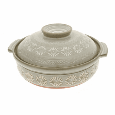 "Hana Mishima Donabe Pot/Japanese <br>Hot Pot 9-3/4"", 10-3/4"", & 12"" <br>Made in Japan"