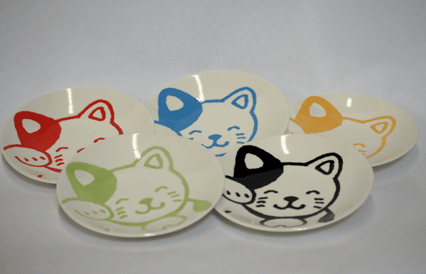 Happy Cat Plates 6-1/4""
