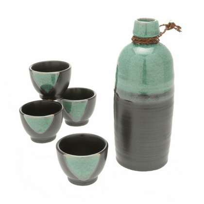 Honu Green Sake Container &  <br>4 Cups Set