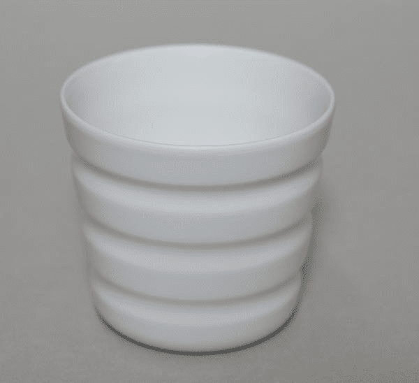 Horizontal Lines White Porcelain Cup, 8 oz.