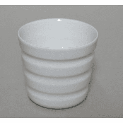 Horizontal Lines White Porcelain<br> Cup, 8 oz.