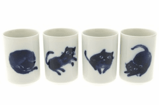 Indigo Cats Tea Cups for Four 5.5 oz