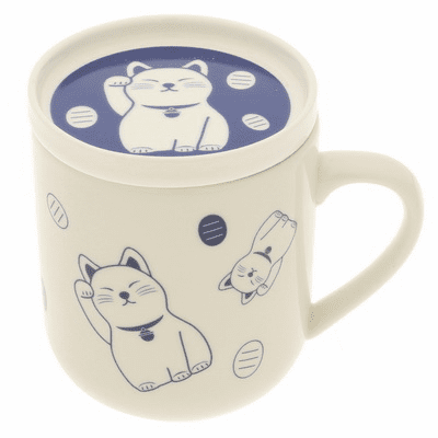 Indigo Fortune Cat Ceramic Tea <br>Mug, 10 oz.