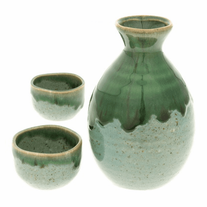 Irionmote Green Sake Container &  2 Cups Set