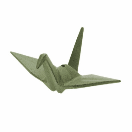 Iwachu Cast Iron Green Peace Crane Incense Stick Holder